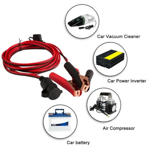 Professional Quality Car Clip-on Lighter Socket Adapter Cable With 3PCs Fuse NE8