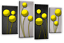 """ABSTRACT FLORAL ART PICTURE YELLOW GREY CIRCLES CANVAS SPLIT MULTI PANELS 40/"""""""