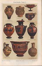 Chromo-Lithografien 1909: GRIECHISCHE VASEN I/II. Ton Steingut Malerei Amphora