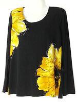 Susan Graver Floral Top Small S 6-8 Yellow Blouse Top Shirt Qvc