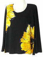 Susan Graver Floral Top Small S 6-8 Yellow Blouse Top Shirt Qvc