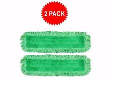 "2-pack of 18"" Inch Green Fringe Microfiber Dust Mop Pads for Commercial Mops"