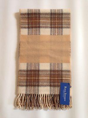 100% Pura Lana D'agnello Lungo Sciarpa A Righe Intrecciato Tartan Made In Scotland-mostra Il Titolo Originale