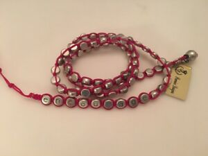 Details About Premier Designs Jewelry Encourage Antiqued Silver Pink Cord Wrap Bracelet