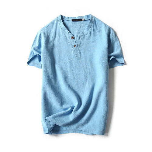 Men Cotton Linen Short Sleeve V-Neck T-shirt Top Blouse Tee Loose Solid Casual