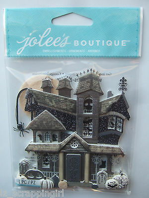 ~BLACK & WHITE HAUNTED HOUSE~ Jolee's Boutique Dimensional Stickers; HALLOWEEN