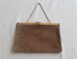 Vintage 60\u2019s genuine suede and fur bag