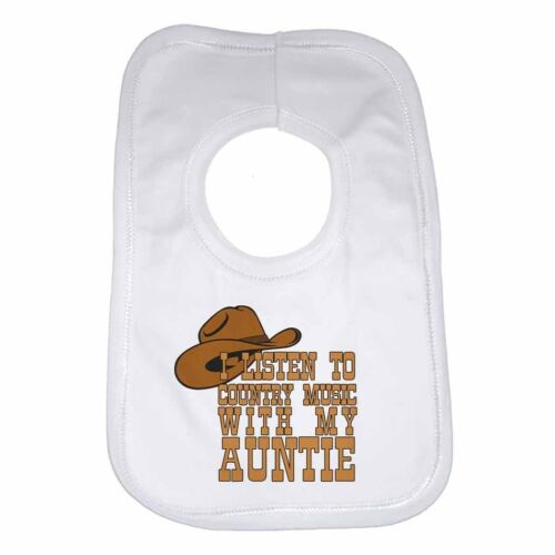 I Listen to Country Music With My Auntie new Personalised Baby Bib Unisex