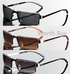 Men-Women-Rectangular-Sunglasses-Fashion-Retro-Vintage-80s-Wrap-Around-Designer