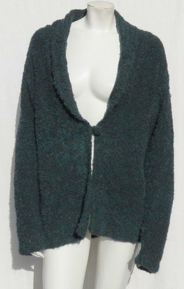 TEY ART Hand Made Peru Teal Alpaca Wool Boucle Knit Cardigan Sweater sz M fits L