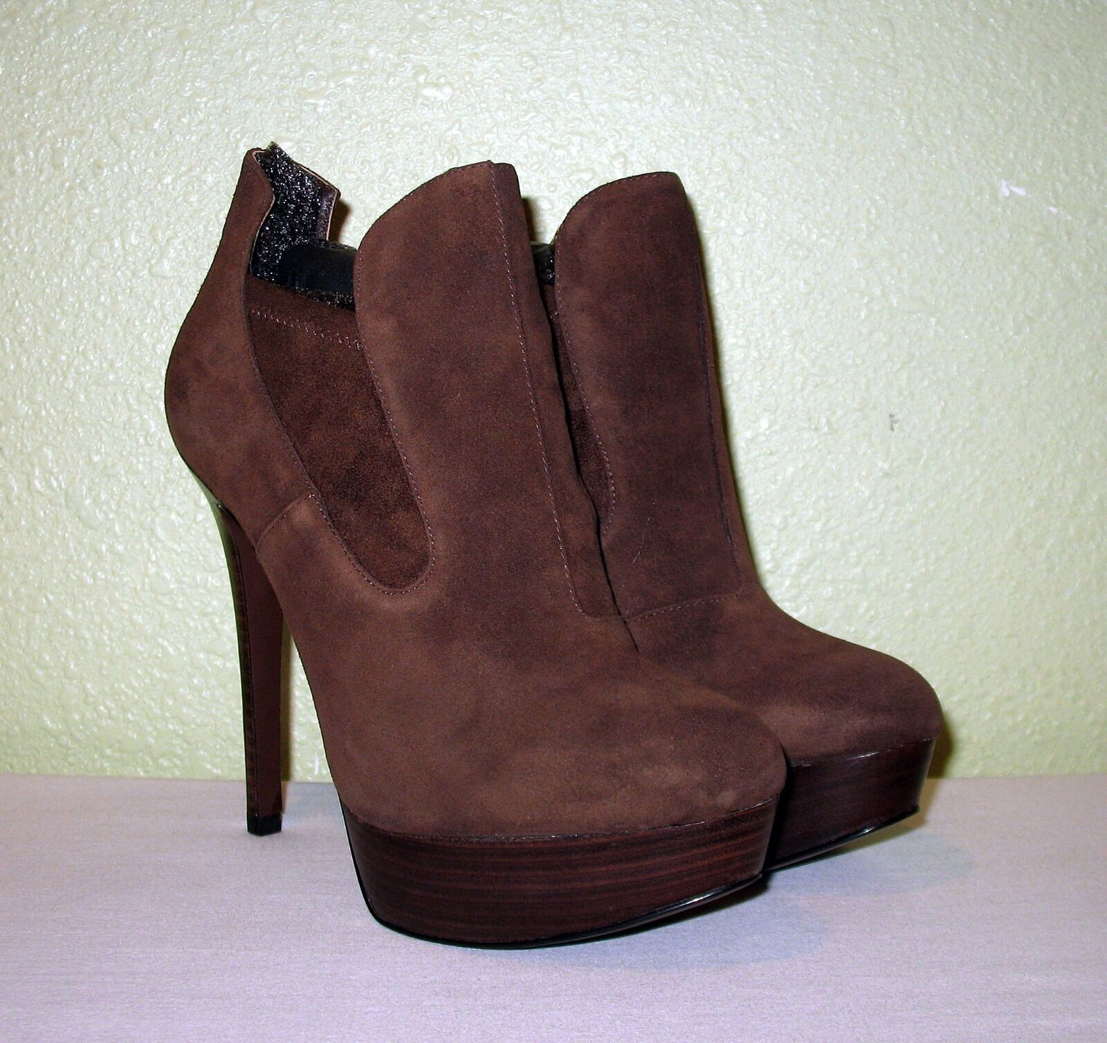 WOMENS BROWN SUEDE JOAN DAVID STILETTO BOOTIES SHOOTIES NEW US 6 M