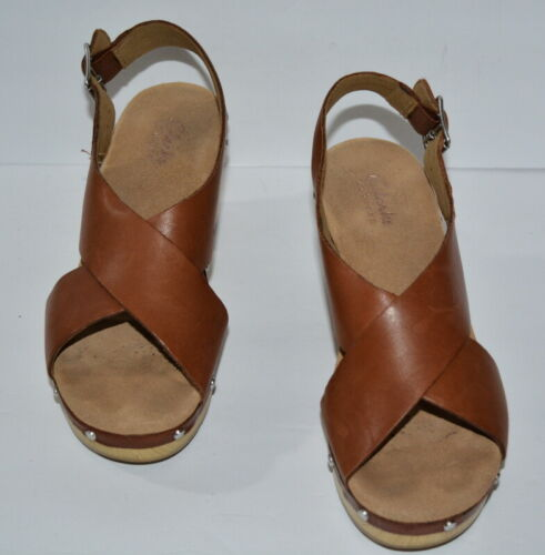CLARKS ARTISAN LEDELLA BROWN LEATHER WOOD PLATFORM