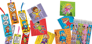 Pack-of-36-Superhero-Stationery-Pack-Pencils-Bookmarks-Notepads-Party-Fillers
