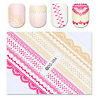 Water Decals French Nail Art Transfer Stickers Lace Pink Gold Manicure Tips DIY