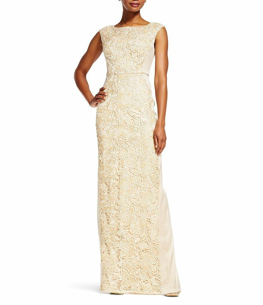 Adrianna Papell Champagne Cap Sleeve Lace Insert Column Gown - NWT Many Sizes