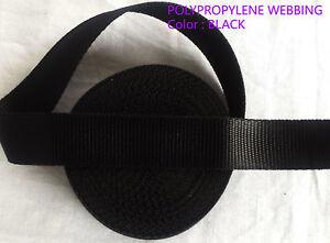 32MM Thick Polypropylene webbing strapping bag strap weave camp-Black