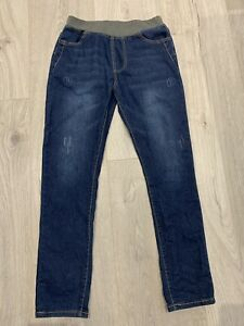 New-And-Comfy-Skinny-Stretch-Washed-Blue-Jeans-Extensible-Waist-Length-37in