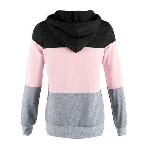 Damen Langarm Sweatshirts Blusen Tops Oberteil Kapuzen Pullover Slim Fit Hoodie