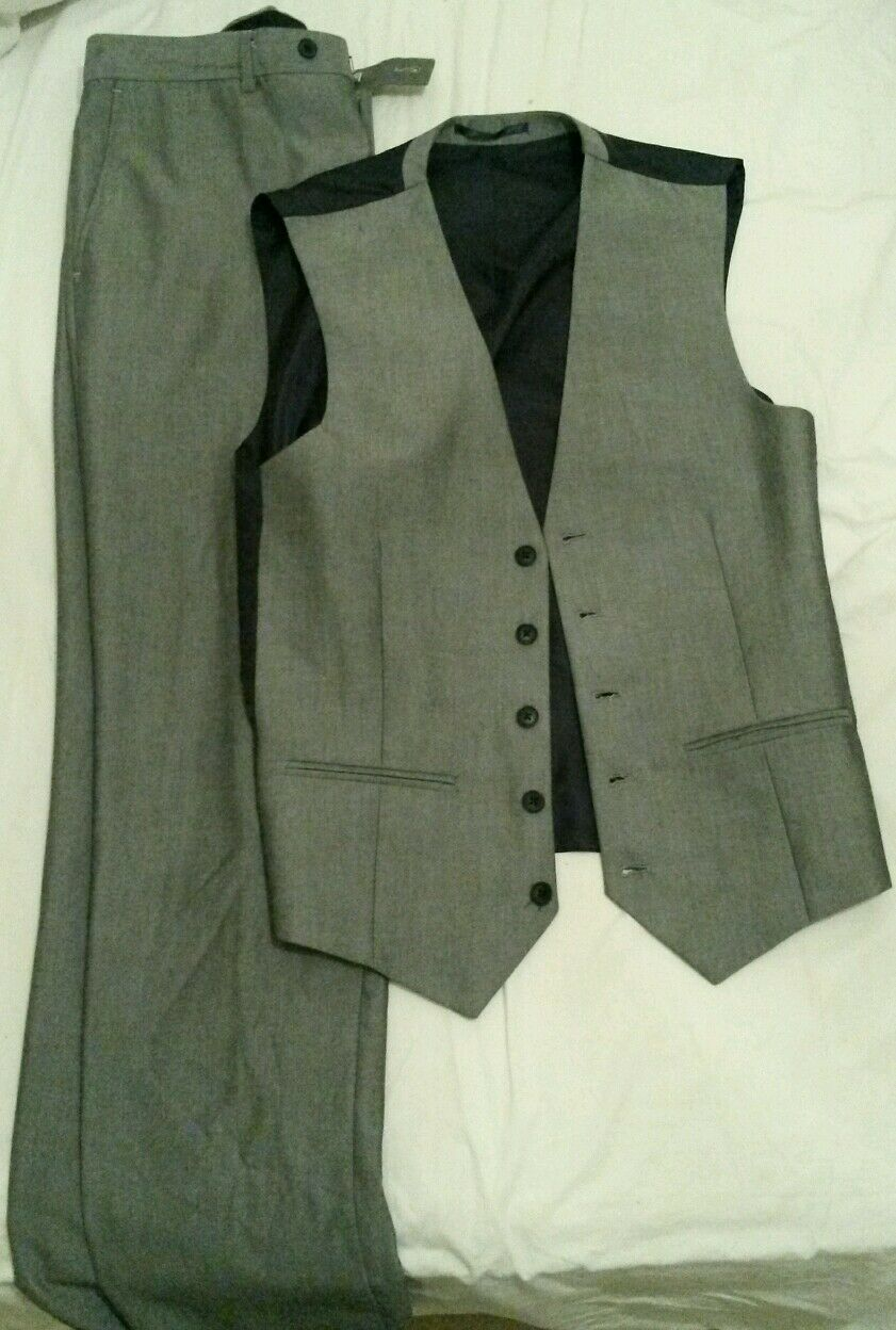 Men's NEXT Grey Trousers and Waist Coat Excellent Condition