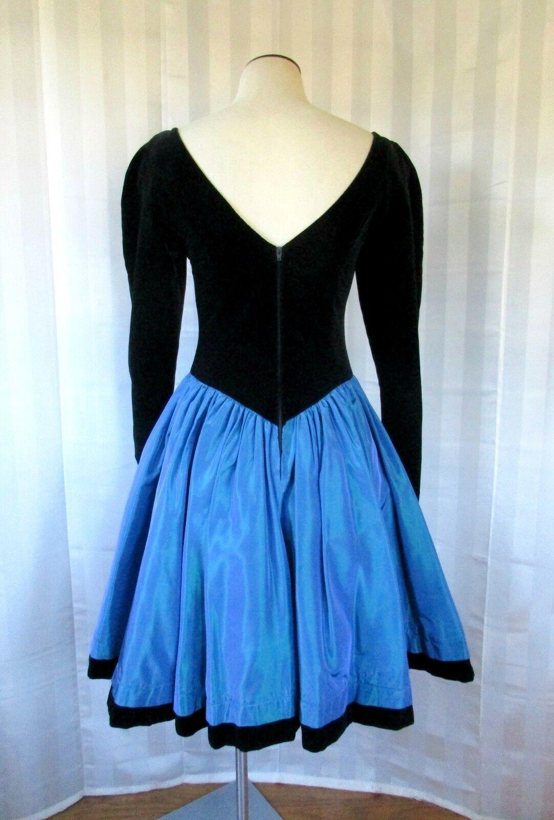 Vintage Laura Ashley Party Dress 1980s 1990s Blac… - image 3