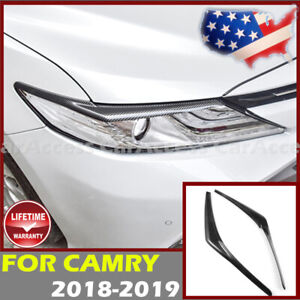 2P Black Stainless Headlight Lamp Eyebrow Trim Cover For 2018 2019 Toyota Camry