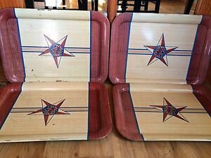 Set-Of-4-Vintage-Large-Wood-Grain-With-Star-Metal-Lap-TV-Trays