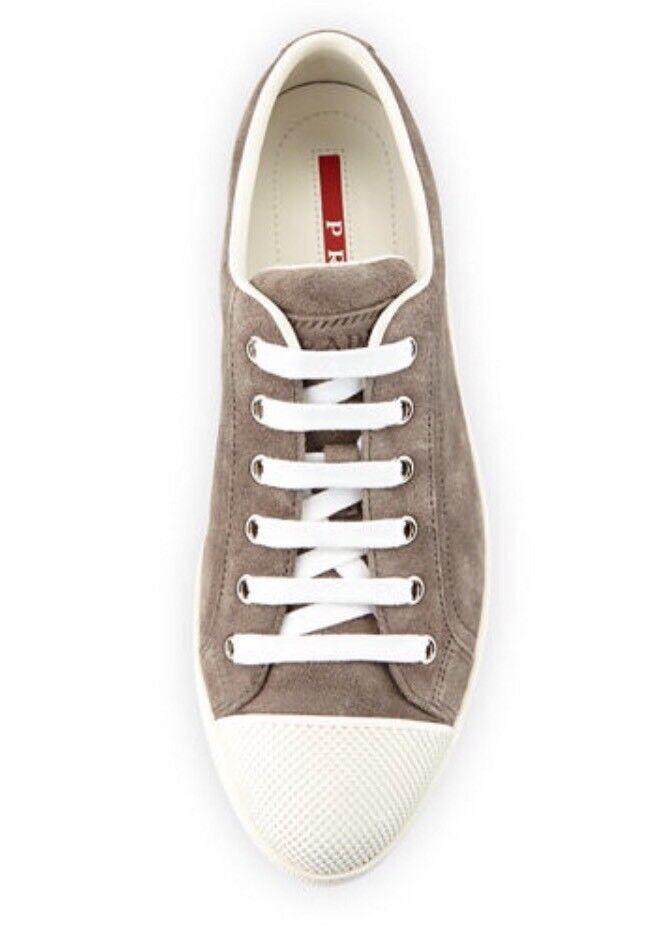 Prada Linea Suede Cap Toe Low Top Sneaker 7 NWB Retails