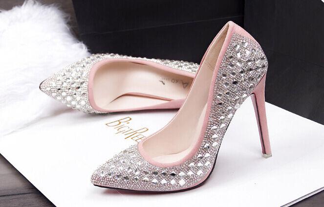Décollte Schuhe cm decolte spillo 10 cm Schuhe stiletto moda rosa strass brillantini 8669 ea557f