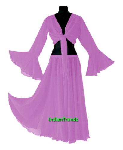 Royal Blue Belly Dance Chiffon Skirt Top Set Ruffle Tie Gypsy Dress Jupe