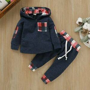 Toddler-Infant-Baby-Boys-Hooded-Outfits-Plaid-Long-Sleeve-Tops-Pants-Clothes-Set
