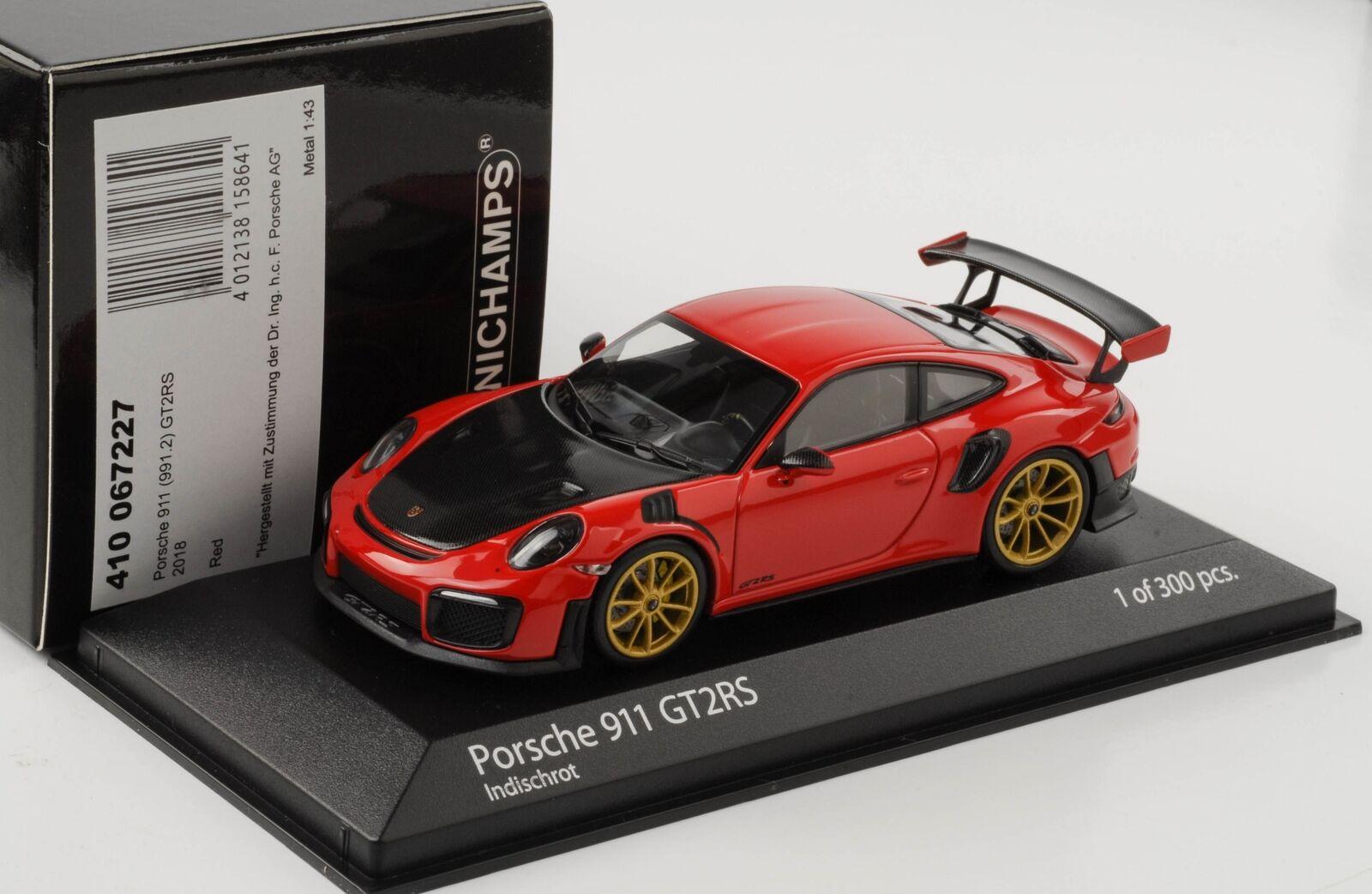 2018 Porsche 911 991 (II) (II) (II) GT2 RS indischred goldene Felgen 1 43 Minichamps 32d5ee