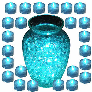 QTY 24 TEAL LED Submersible Underwater Tea lights Flameless w/ Batteries!