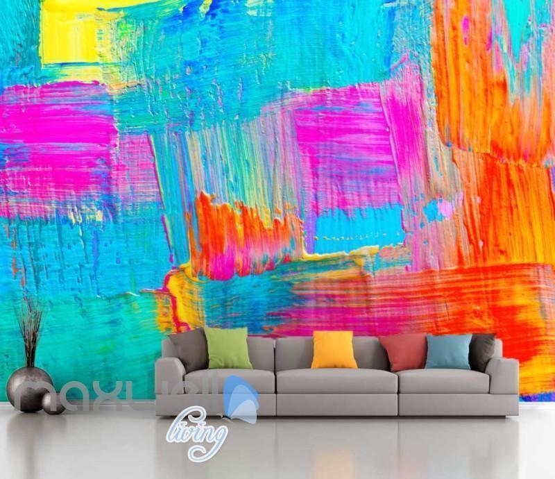 3D Graffiti bluee Pink Paint Theme Art Wall Murals Wallpaper Decals Prints Decor