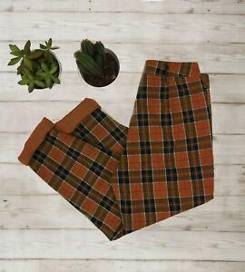 Femme-Double-Taille-Haute-Tartan-a-Carreaux-Pantalon-marron-toutes-tailles