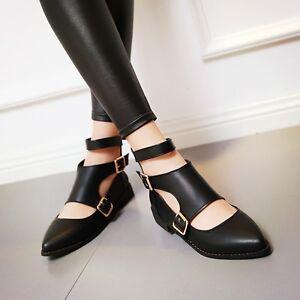 Vogue-Women-Plus-size-Pointy-toe-Cut-out-Buckle-Casual-Shoes-Korea-US4-11-Preppy