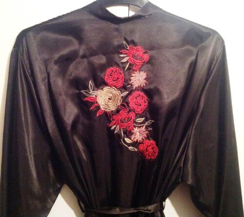 LADIES QUALITY EX STORE BLACK SATIN DRESSING GOWN//ROBE UK SIZE 8-24