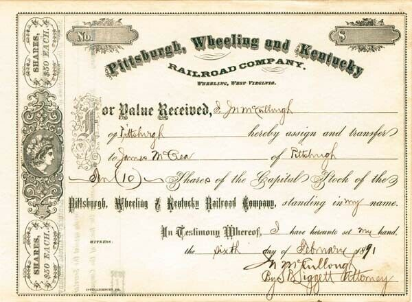 Pittsburgh, Wheeling & Kentucky Railroad - Stock Certificate