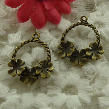 free ship 55 pieces bronze plated flower charms 24x21mm #3002