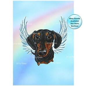 Black and Tan Dachshund Angel Art Print Dog Memorial Picture Pet Loss Gift
