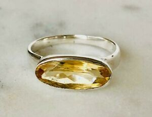 925 Sterling Silver Stackable Citrine Large Oval Gemstone Ring US Size 6 7 8 9