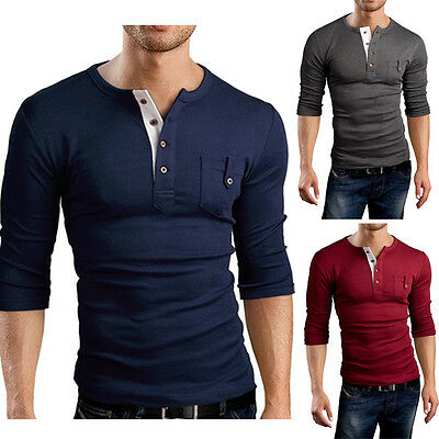 Fashion Men's Casual Slim Fit Long Sleeve T-shirts Muscle Y-Neck Tee Shirts Tops