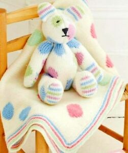Baby-Toy-Spotty-Teddy-Bear-amp-Spotty-Blanket-33cm-13-034-DK-Knitting-Pattern