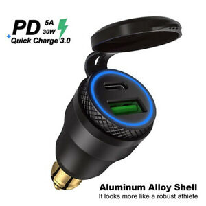 Dual QC3.0 USB Charger DIN EU Plug Socket For BMW Motorcycle