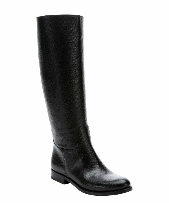 $1500 NEW PRADA Black Saffiano Leather Tall Riding  BOOTS SHOES 36.5 40