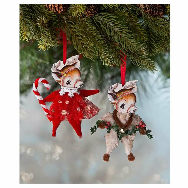 Does Lowes Sell Christmas Trees: Set/2 Bethany Lowe Chenille Reindeer Christmas Tree Retro