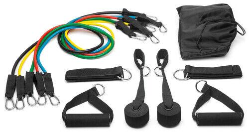 5 Stärken Expander Gymnastikband Fitnessband Tube Power-Bungee-Set 11-teilig