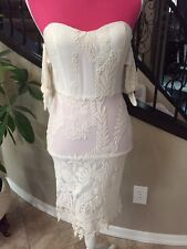 Lane And Dot Lace Off Shoulder Ivory Dress Sz Small S Cocktail Party Wedding