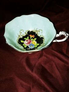 Paragon-By-Appointment-Only-Orphan-Teacup-Mint-Black-Floral-Pattern-Circa-1935