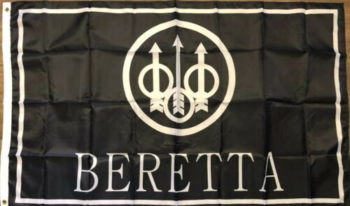 Beretta Flag 3x5 Firearms Banner Pistol Black Logo Gun Store NRA Weapon Man Cave