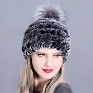 d00bc95faf15e Fashion Women s Knitted Rex Rabbit Fur Hat Winter Warm Fox Fur Pom ...